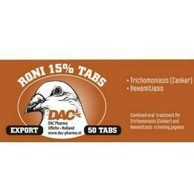 DAC RONI 15% EXTRA STRONG 50TABS TRICHOMONIASIS HEXAMATİASİS Pigeons Birds Poult