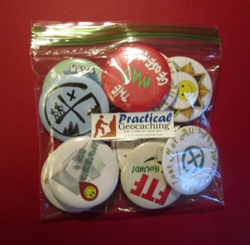 "Practical Geocaching® – Geo-Buttons 2 1/4"" Buttons - 9pcs - Free Freight!"