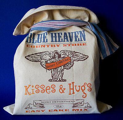 AMERICANA COUNTRY STORE DECOR Feedsack Kisses & Hugs Cake Mix Flour Sack Vintage