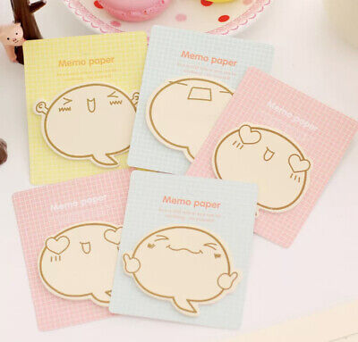Cute Post It Memo Pad Cartoon Quote Face Pink Blue Yellow Message Notes 1pc