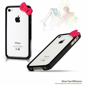 Black Hello Kitty Bowknot Bow Bumper Frame Cover Skin Case for iPhone 4 4G 4S