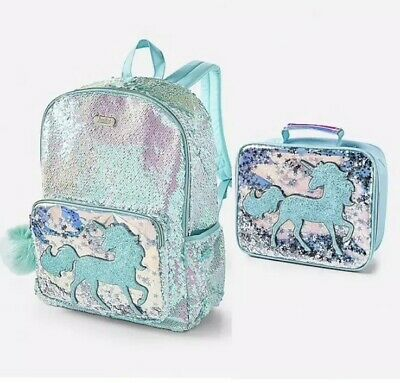Justice Aqua Blue Shaky Unicorn Flip Sequin/Confetti Backpack & Lunchbox - NWT - Blue Sequin Backpack
