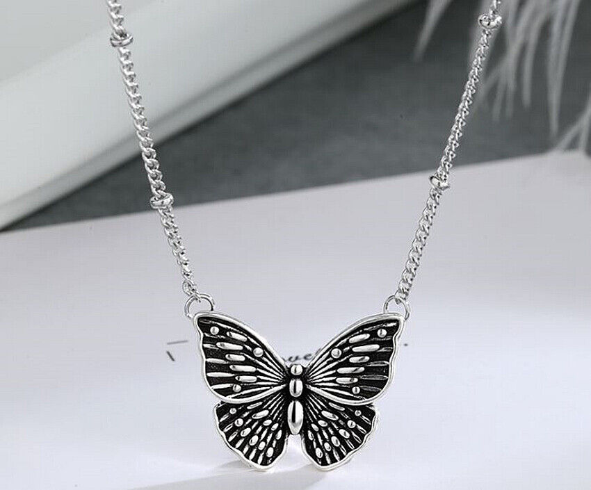 Jewellery - Retro Blue Butterfly Pendant 925 Sterling Silver Chain Necklace Womens Jewellery