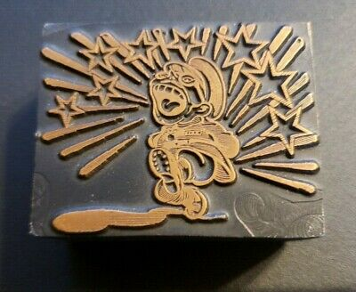 Vintage Copper And Wood Ink Block Hirhito Cartoon Letterpress Rare Wwii Japan