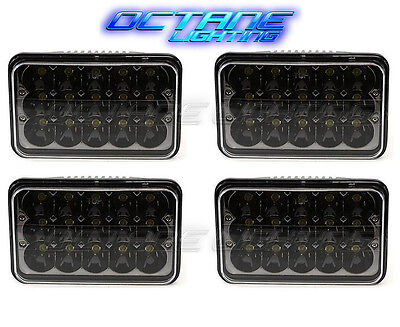 "4X6"" Black LED HID Cree Light Bulbs Clear Sealed Beam Headlamp Headlight Set"