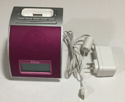 iHome IH110B iPod iPhone Sound Alarm Clock Dock Station Player Rare Magenta