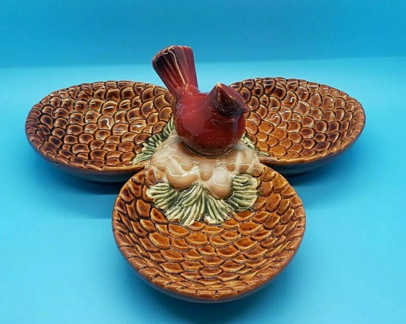 Cardinal Red Brown Pinecone Divided 3 Dishes Tray
