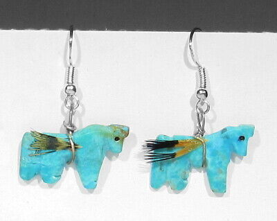 Vintage Zuni 925 Silver Hand Carved Turquoise Horses With Real Feathers Earrings - $13.50