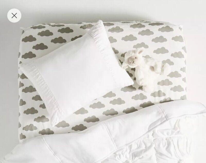 Anthropologie Lazybones ROSETTE Cot Pillowcase White Jersey toddler Pillow Sham