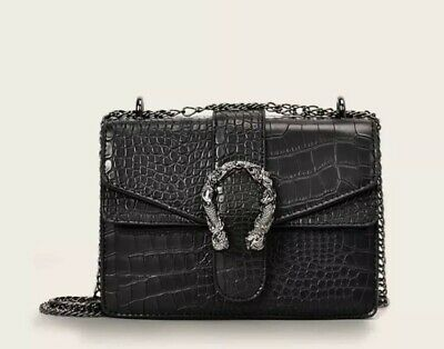 Croc Embossed Chain Crossbody Bag Black Gucci Inspired Bag