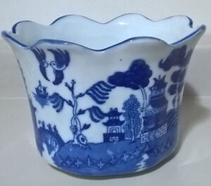 Vintage Victoria Ware Ironstone - Flow Blue and White Willow