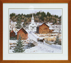Sleigh Ride In Snowy Village Painting - Christmas Winter Horse