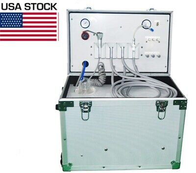 Portable Dental Turbine Unit 4h With Air Compressor Suction System 3-way Syringe