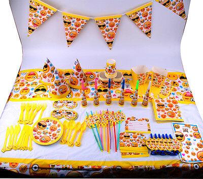 Emoji Faces Smiley Birthday Party Tableware Decorations Emoticon Plates Napkins (Decorative Napkins)