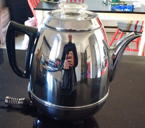 General Electric Chrome 9 Cup Pot Belly Coffee Pot Percolator