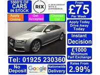 2015 SILVER AUDI A5 SPORTBACK 2.0 TDI BLACK EDITION + CAR FINANCE FR £75 PW