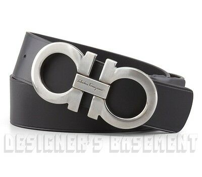 SALVATORE FERRAGAMO black 38 leather Double GANCINI buckle Belt NWT Authent $440