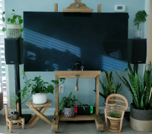 Infinity Bookshelf Speakers on stands with amp