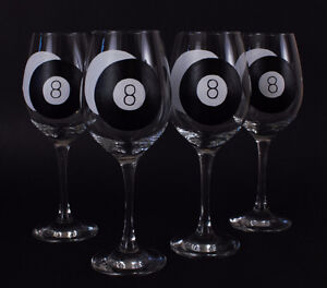 Billiards Themed Hand-Painted Glassware