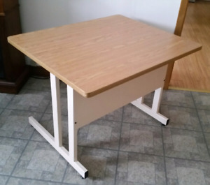 Steel desk with 1 inch wood laminate top