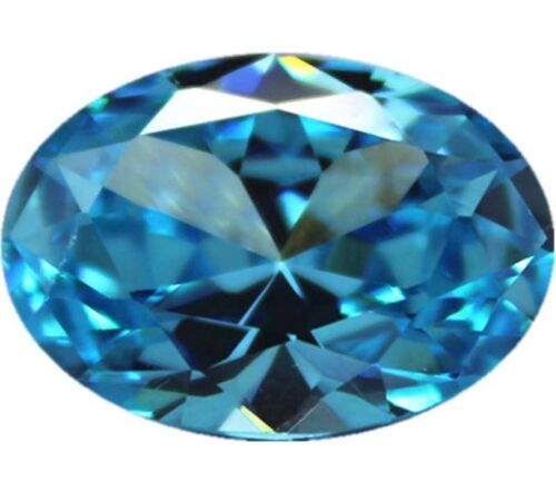 10x12MM 6.89CT AAAAA Natural Oval Sea Blue Zircon Diamonds Cut VVS Loose Gems