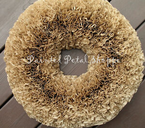 Natural Coffee Filter Wreath/Rustic Decor/Wedding Wreath