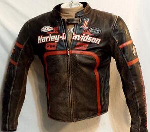 Harley-Davidson Manteau Cuir Brun ventilé Homme Large 315$