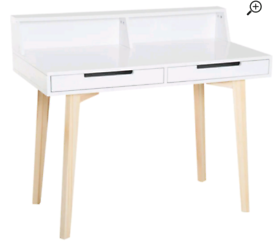 A new stylish white finish 2 drawer desk with stylish oak effect legs