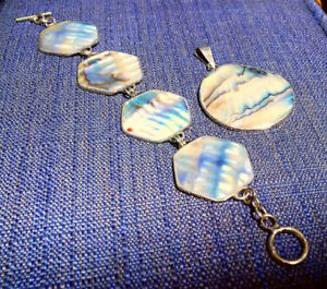 New Mexican Set Abalone Pendant&Bracelet 8'' Sterling Silver 925