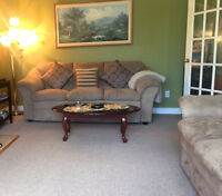 Set - 2 sofas/couches beige color & black leather sofa and chair