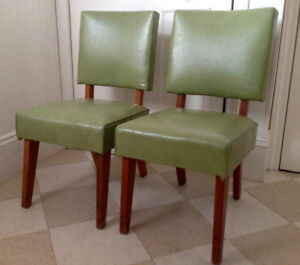 Antique Apple Green Leather Side Chairs, very sturdy and in perf