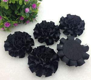 5pcs Black satin ribbon big Peony Flower Appliques/craft/Wedding decoration