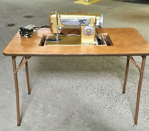 PORTABLE WHITE SEWING MACHINE and TABLE