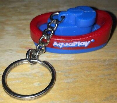 Schlüsselanhänger Boot Kahn Aqua Play Bahn blau rot 4,3x2,4x2 cm.