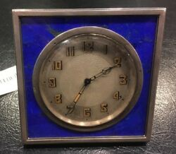 CARTIER, CIRCA 1929 French Silver & Lapis Lazuli Desk Clock w/ Provence antique