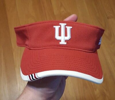 pretty nice 2fe85 e07fc Adidas NCAA Indiana Hoosiers Red Visor IU Embroidered Logo Adjustable Back