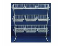 Heavyduty All Metal BASKET STAND SHOP DISPLAY SHOPFITTINGS 1.4M Wide x 1.56M High *** RRP £124.99