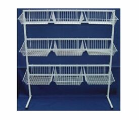 HEAVYDUTY COMMERCIAL BASKET STAND SHOP DISPLAY SHOPFITTINGS 1.4M Wide x 1.56M High *** RRP £124.99