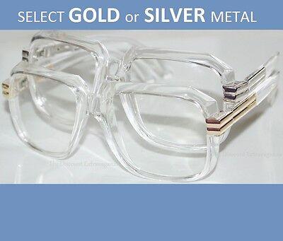 Gold or Silver Metal Accent Clear Frame & Lens Rap DJ Gazelle Style Sun (Gazelles Glasses)