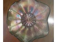 Fentons peacock tail carnival glass bowl