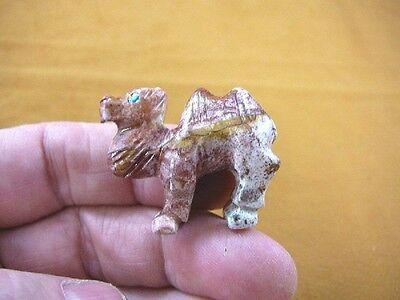 (Y-CAM-13) CAMEL camels desert red SOAPSTONE FIGURINE gemstone carving dromedary