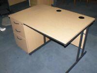 Beech Office Desk & Matching 3 Drawer Lockable Pedestal