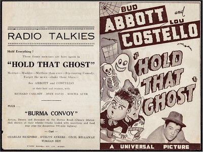 HOLD THAT GHOST ORIGINAL VINTAGE MOVIE HERALD ABBOTT & COSTELLO