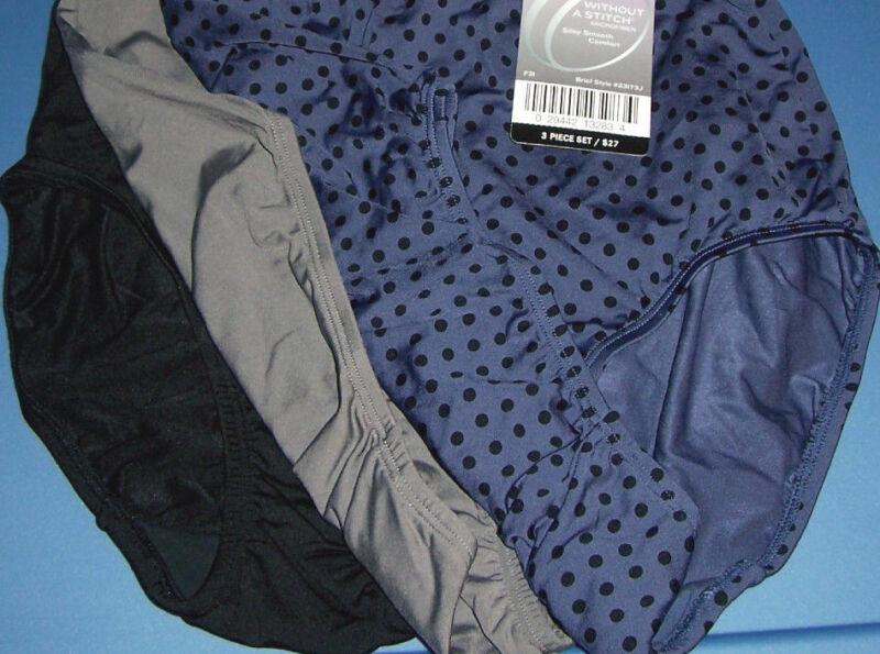 Olga Brief Without A Stitch Nylon Microfiber Black Blue 3 Panties Size 7 L NWT