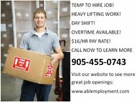 $16/hour Warehouse Worker in Milton!