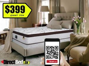 BRAND NEW Double / Queen Euro Top Pocket Coil Pillow, Memory Foam Mattress MSRP $800, FREE Same Day Delivery