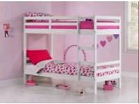 white wood bunk bed with free assembly service and delivery