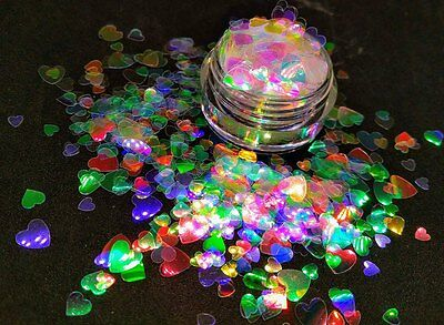 HEART Shape Glitter~ Multi-Sizes~Solvent Resistant~Acrylic Nails~Nail Art~ USA - Heart Glitter