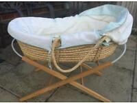 Moses basket with stand and mattress vgc