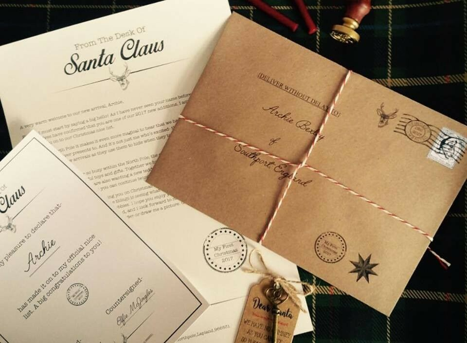 First Christmas themed Letter from Santa inc certificate, magic key & real wax seal!